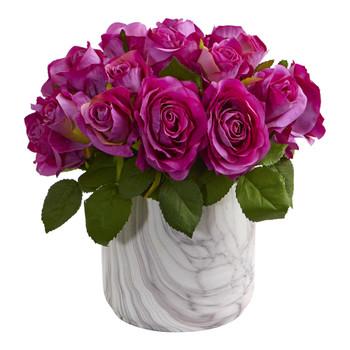 Rose Artificial Arrangement in Marble Finished Vase - SKU #1603-PP