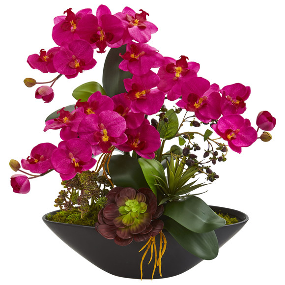 Phalaenopsis Orchid and Mixed Succulent Garden Artificial Arrangement in Black Vase - SKU #1605