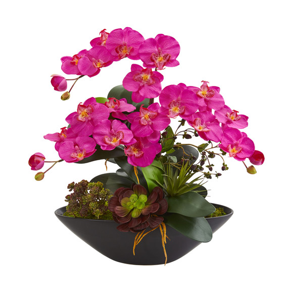 Phalaenopsis Orchid and Mixed Succulent Garden Artificial Arrangement in Black Vase - SKU #1605 - 3