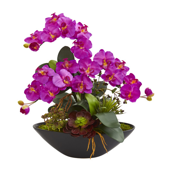 Phalaenopsis Orchid and Mixed Succulent Garden Artificial Arrangement in Black Vase - SKU #1605 - 1