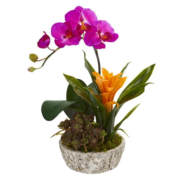 Orchid Bromeliad and Succulent Artificial Arrangement in Planter - SKU #1606