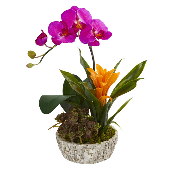 Orchid Bromeliad and Succulent Artificial Arrangement in Planter - SKU #1606