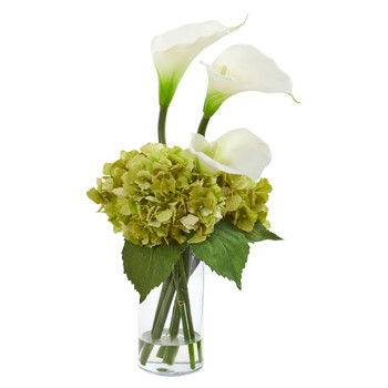 Calla Lily and Hydrangea Artificial Arrangement - SKU #1607-CR