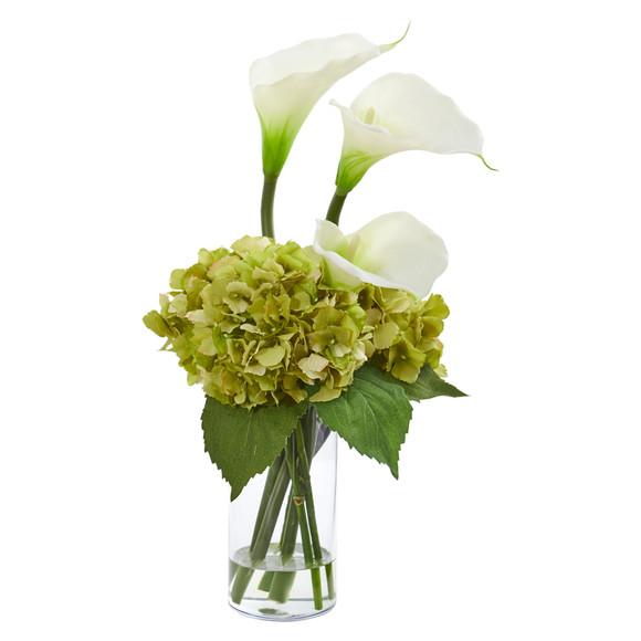Calla Lily and Hydrangea Artificial Arrangement - SKU #1607 - 5