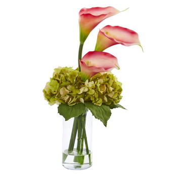 Calla Lily and Hydrangea Artificial Arrangement - SKU #1607