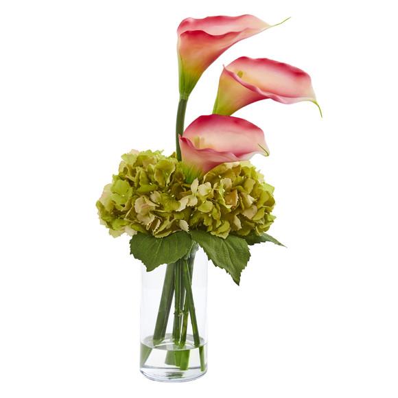Calla Lily and Hydrangea Artificial Arrangement - SKU #1607 - 1