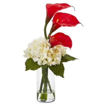 Calla Lily and Hydrangea Artificial Arrangement - SKU #1607
