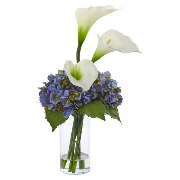 Calla Lily and Hydrangea Artificial Arrangement - SKU #1607 - 2