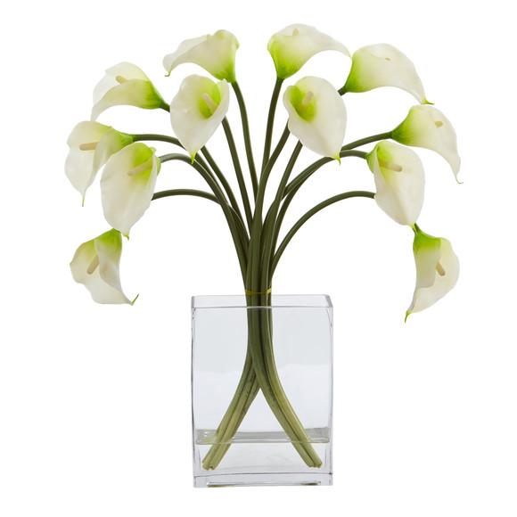 Calla Lily Artificial Arrangement in Vase - SKU #1608 - 2
