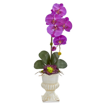 Orchid and Succulent Artificial Arrangement in Urn - SKU #1609-OR