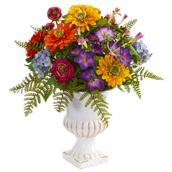 Mixed Floral Artificial Arrangement in Urn - SKU #1610