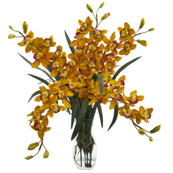 Cymbidium Orchid Artificial Arrangement in Glass Vase - SKU #1613-YL