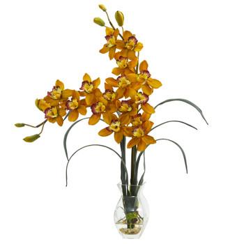 Double Cymbidium Orchid in Vase Artificial Arrangement - SKU #1614-YL