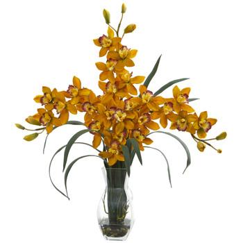 Triple Orchid Cymbidium in Vase Artificial Arrangement - SKU #1615-YL