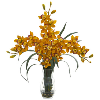 Triple Orchid Cymbidium in Vase Artificial Arrangement - SKU #1615-YL