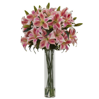 Rubrum Lily Artificial Arrangement in Cylinder Vase - SKU #1616-PK