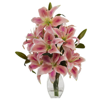 Rubrum Lily Artificial Arrangement in Decorative Vase - SKU #1617-PK