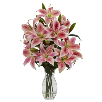 Rubrum Lily Artificial Arrangement in Vase - SKU #1618-PK