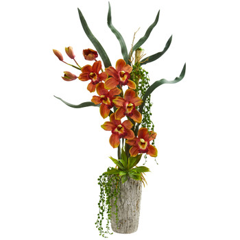 Cymbidium Orchid Artificial Arrangement in Planter - SKU #1619-BG