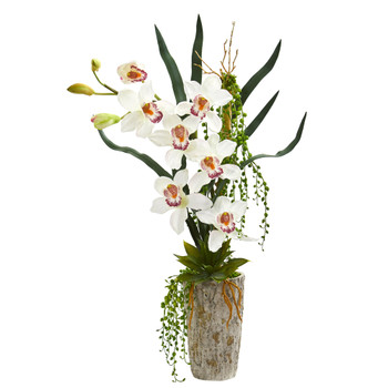 Cymbidium Orchid Artificial Arrangement in Planter - SKU #1619