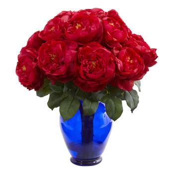 Rose Artificial Arrangement in Rose Colored Vase - SKU #1620