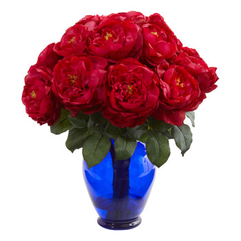 Rose Artificial Arrangement in Rose Colored Vase - SKU #1620