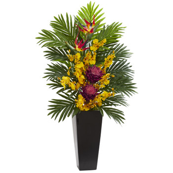 Tropical Floral Orchid Artificial Arrangement in Black Vase - SKU #1623