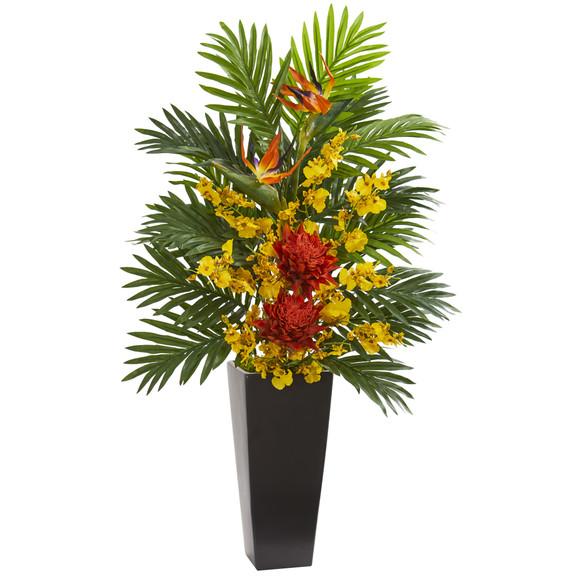 Tropical Floral Orchid Artificial Arrangement in Black Vase - SKU #1623 - 1