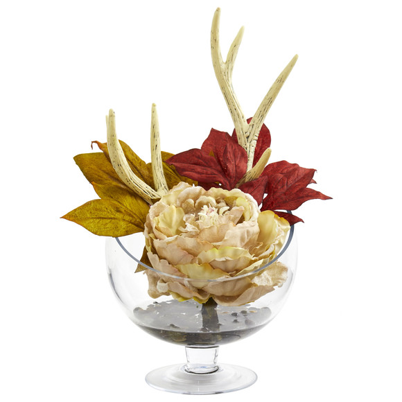 Peony Artificial Arrangement in Pedestal Glass Vase - SKU #1624 - 2