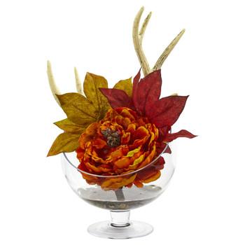 Peony Artificial Arrangement in Pedestal Glass Vase - SKU #1624-OR