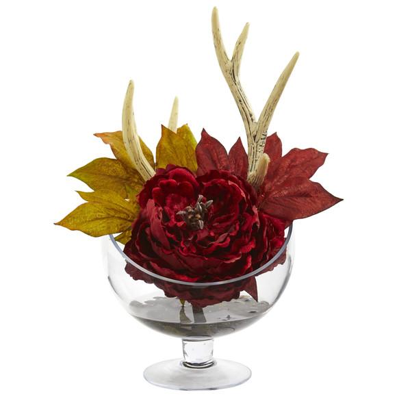 Peony Artificial Arrangement in Pedestal Glass Vase - SKU #1624