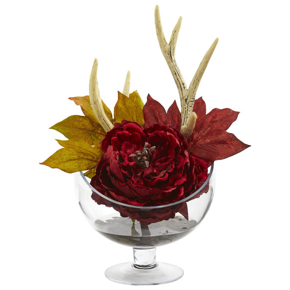 Peony Artificial Arrangement in Pedestal Glass Vase - SKU #1624