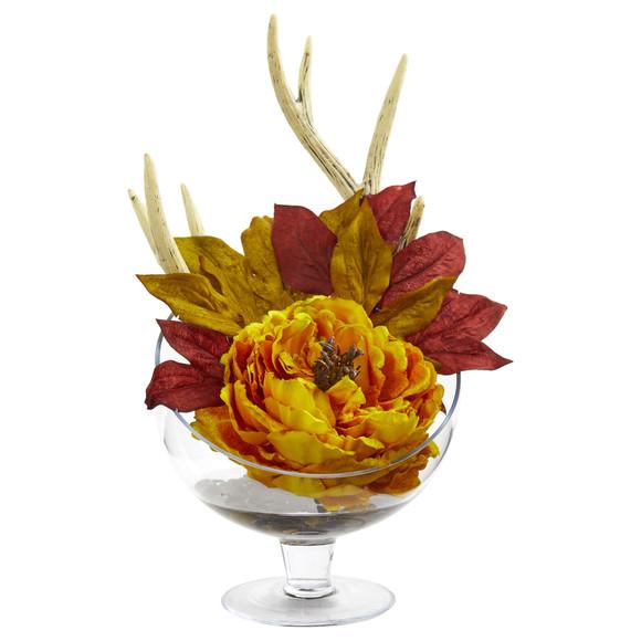Peony Artificial Arrangement in Pedestal Glass Vase - SKU #1624 - 1