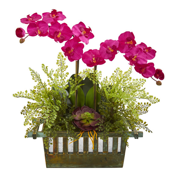 Orchid Succulent and Maiden Hair Artificial Arrangement - SKU #1625