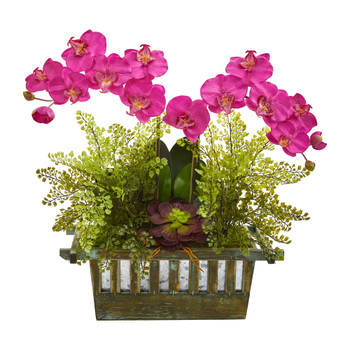 Orchid Succulent and Maiden Hair Artificial Arrangement - SKU #1625-GR