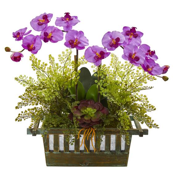 Orchid Succulent and Maiden Hair Artificial Arrangement - SKU #1625 - 6