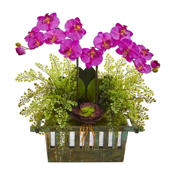 Orchid Succulent and Maiden Hair Artificial Arrangement - SKU #1625 - 1