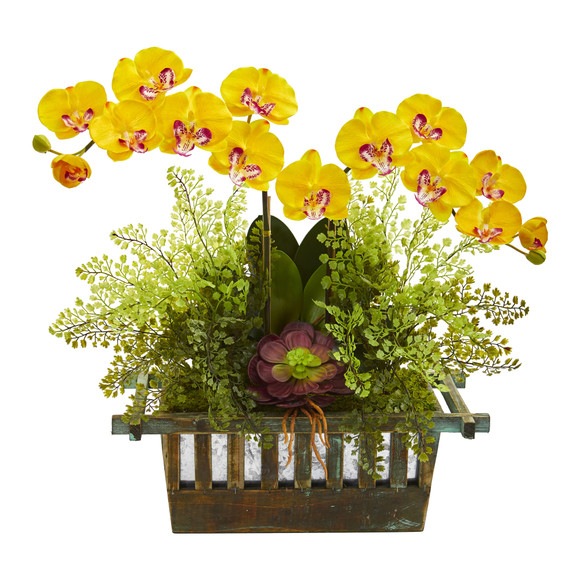 Orchid Succulent and Maiden Hair Artificial Arrangement - SKU #1625 - 4