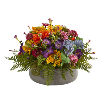 Mixed Floral Artificial Arrangement in Stone Planter - SKU #1626