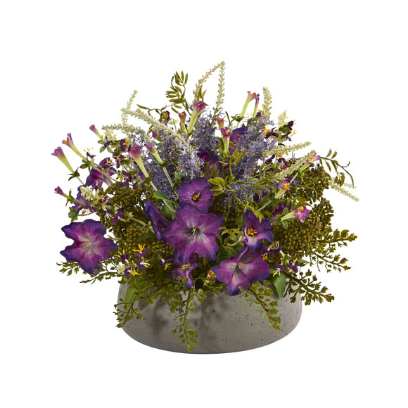 Morning Glory Artificial Arrangement in Stone Planter - SKU #1627
