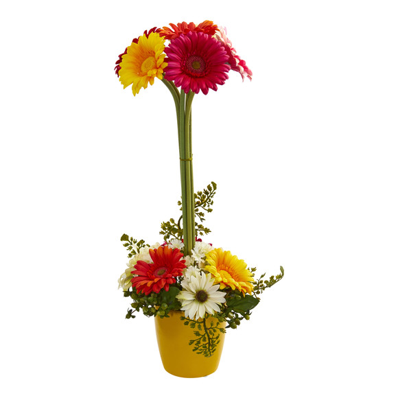 Gerber Daisy Artificial Arrangement in Ceramic Vase - SKU #1628 - 2