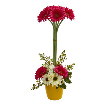 Gerber Daisy Artificial Arrangement in Ceramic Vase - SKU #1628