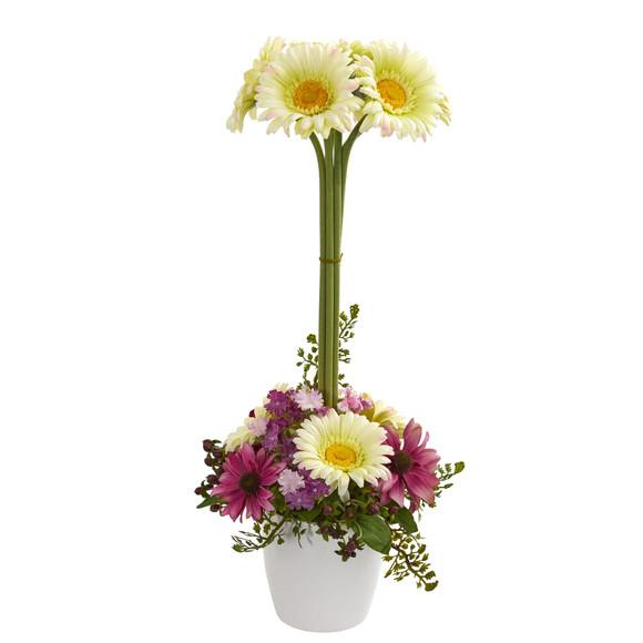 Gerber Daisy Artificial Arrangement in Ceramic Vase - SKU #1628 - 6