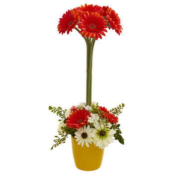 Gerber Daisy Artificial Arrangement in Ceramic Vase - SKU #1628-OR