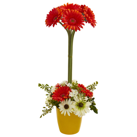 Gerber Daisy Artificial Arrangement in Ceramic Vase - SKU #1628 - 3