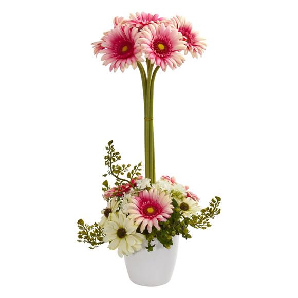 Gerber Daisy Artificial Arrangement in Ceramic Vase - SKU #1628 - 3