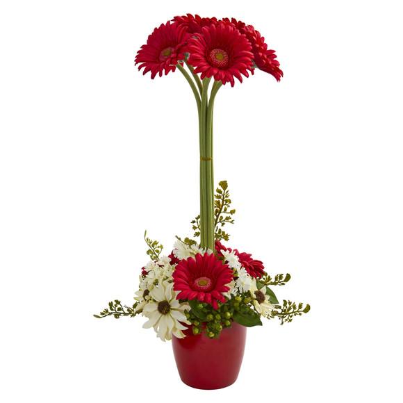 Gerber Daisy Artificial Arrangement in Ceramic Vase - SKU #1628 - 2