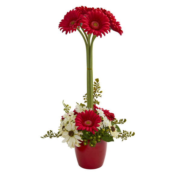 Gerber Daisy Artificial Arrangement in Ceramic Vase - SKU #1628 - 1
