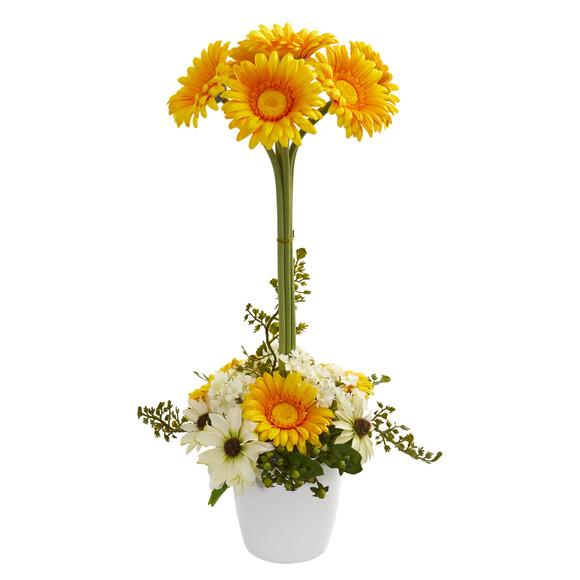 Gerber Daisy Artificial Arrangement in Ceramic Vase - SKU #1628 - 4