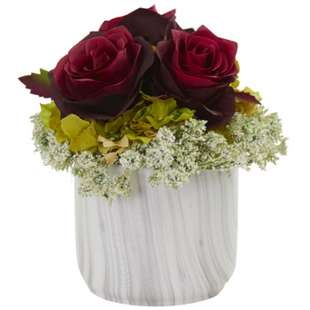 Rose and Hydrangea Artificial Arrangement in Marble Finished Vase - SKU #1629